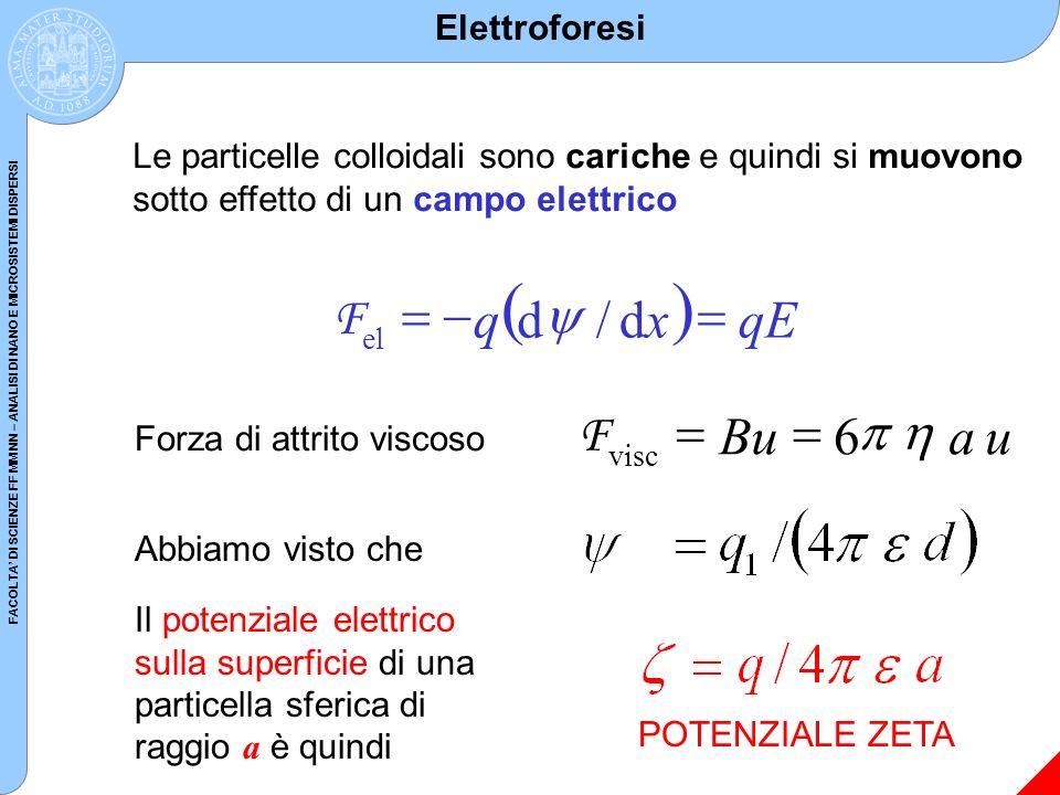 FACOLTA DI SCIENZE FF MM NN – ANALISI DI NANO E MICROSISTEMI DISPERSI Elettroforesi Le particelle colloidali sono cariche e quindi si muovono sotto ef