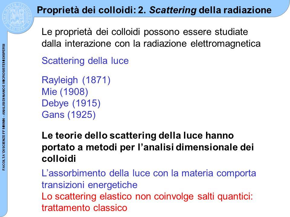 FACOLTA DI SCIENZE FF MM NN – ANALISI DI NANO E MICROSISTEMI DISPERSI Proprietà dei colloidi: 2. Scattering della radiazione Le proprietà dei colloidi