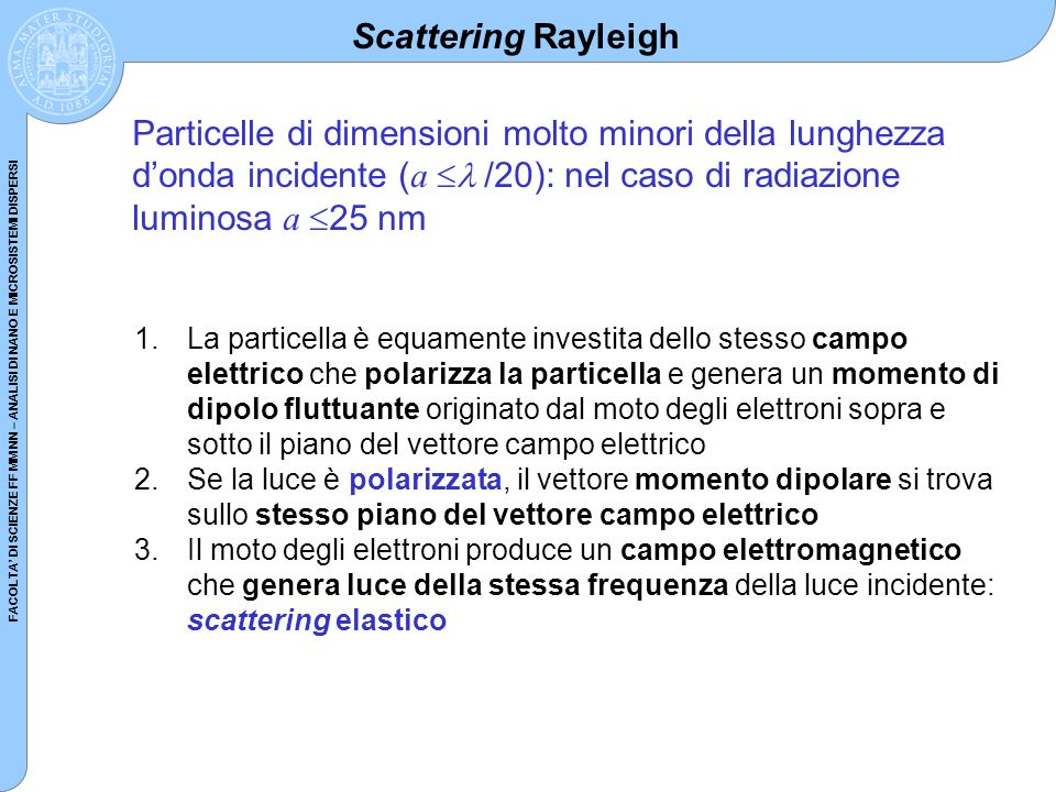 FACOLTA DI SCIENZE FF MM NN – ANALISI DI NANO E MICROSISTEMI DISPERSI Scattering Rayleigh Particelle di dimensioni molto minori della lunghezza donda
