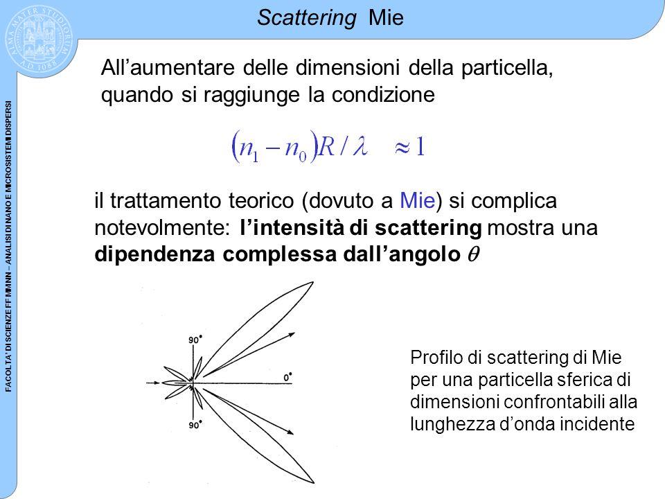 FACOLTA DI SCIENZE FF MM NN – ANALISI DI NANO E MICROSISTEMI DISPERSI Scattering Mie Allaumentare delle dimensioni della particella, quando si raggiun