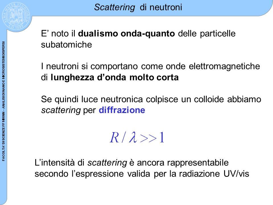 FACOLTA DI SCIENZE FF MM NN – ANALISI DI NANO E MICROSISTEMI DISPERSI Scattering di neutroni E noto il dualismo onda-quanto delle particelle subatomic