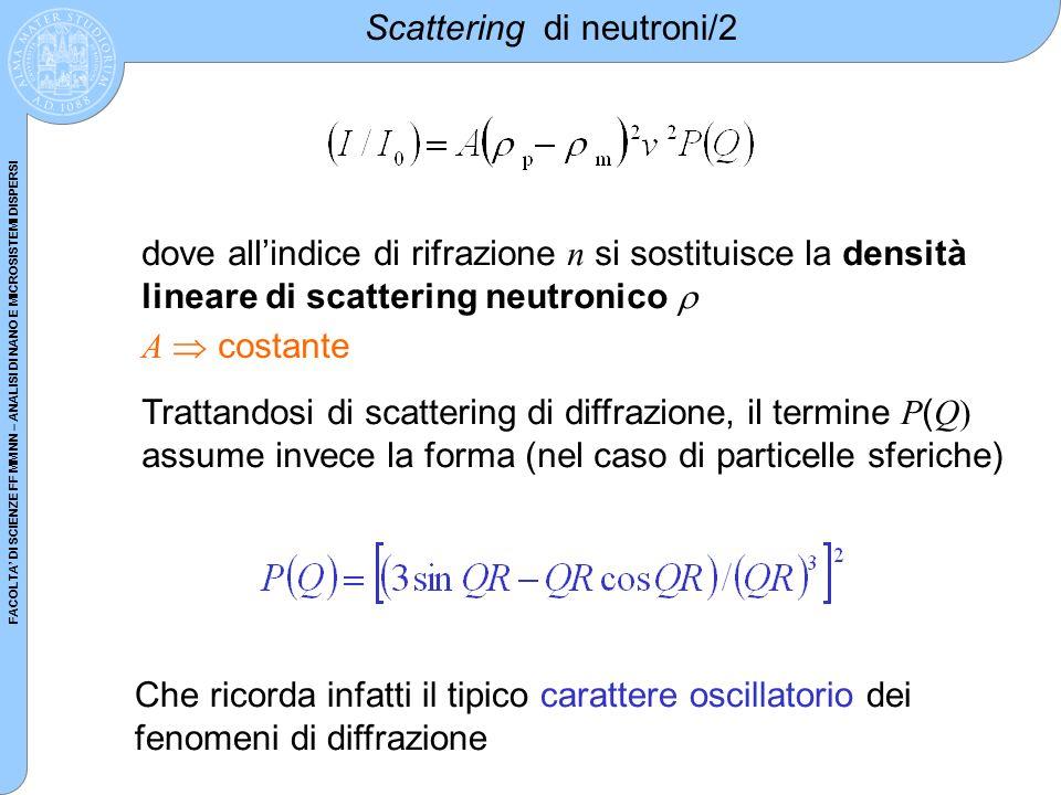 FACOLTA DI SCIENZE FF MM NN – ANALISI DI NANO E MICROSISTEMI DISPERSI Scattering di neutroni/2 dove allindice di rifrazione n si sostituisce la densit