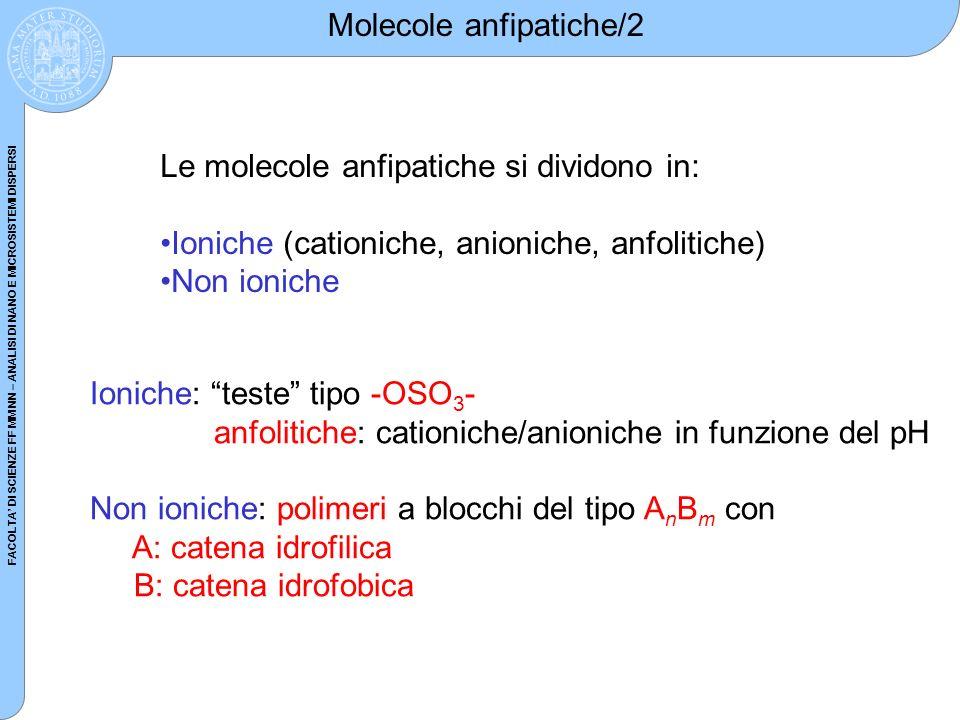FACOLTA DI SCIENZE FF MM NN – ANALISI DI NANO E MICROSISTEMI DISPERSI Molecole anfipatiche/2 Le molecole anfipatiche si dividono in: Ioniche (cationic