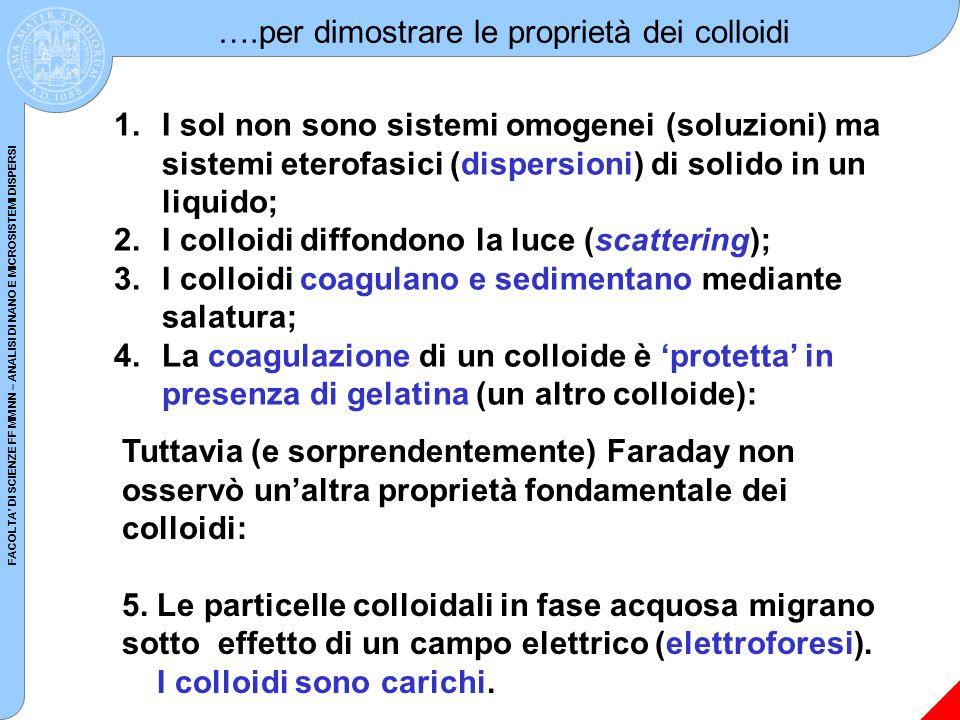 FACOLTA DI SCIENZE FF MM NN – ANALISI DI NANO E MICROSISTEMI DISPERSI Stabilità dei colloidi: 1.