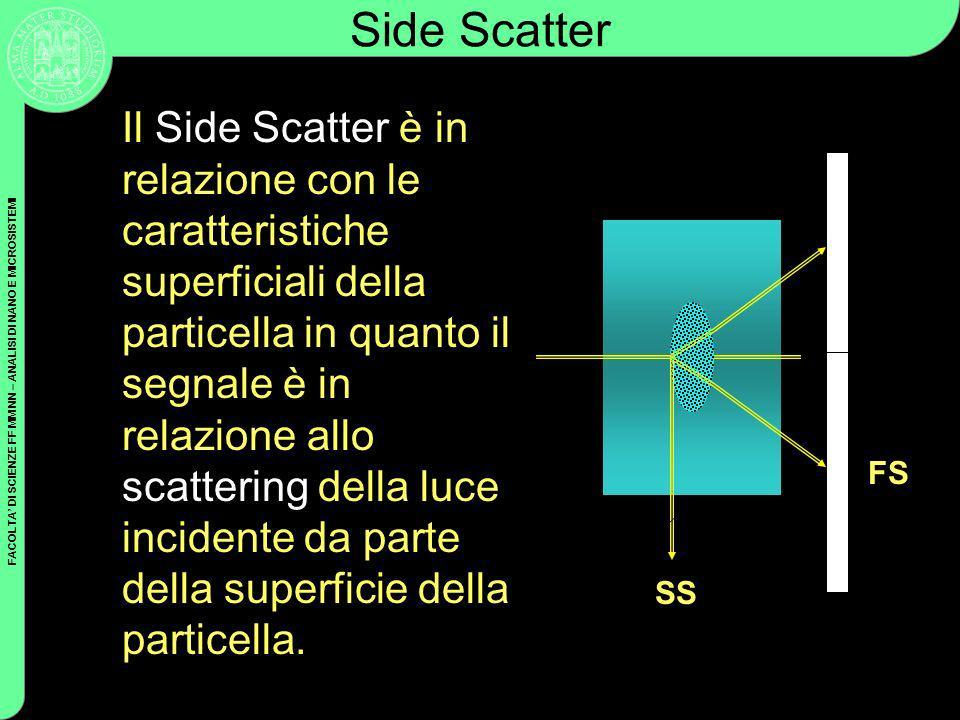 FACOLTA DI SCIENZE FF MM NN – ANALISI DI NANO E MICROSISTEMI Side Scatter Il Side Scatter è in relazione con le caratteristiche superficiali della par