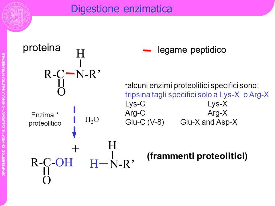 DIPARTIMENTO DI CHIMICA G. CIAMICIAN – CHIMICA ANALITICA STRUMENTALE Digestione enzimatica legame peptidico R-C-OH O H2OH2O Enzima * proteolitico H R-