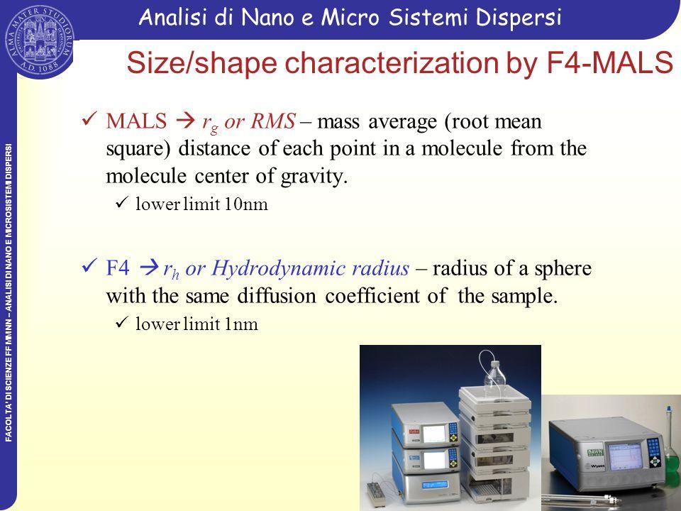 FACOLTA DI SCIENZE FF MM NN – ANALISI DI NANO E MICROSISTEMI DISPERSI Analisi di Nano e Micro Sistemi Dispersi Size/shape characterization by F4-MALS