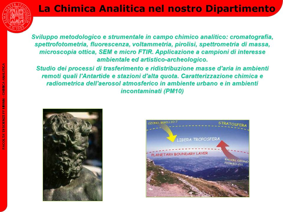 FACOLTA DI SCIENZE FF MM NN – CHIMICA ANALITICA Target formativo della Chimica Analitica Competenza sulle tecniche analitiche e di caratterizzazione.