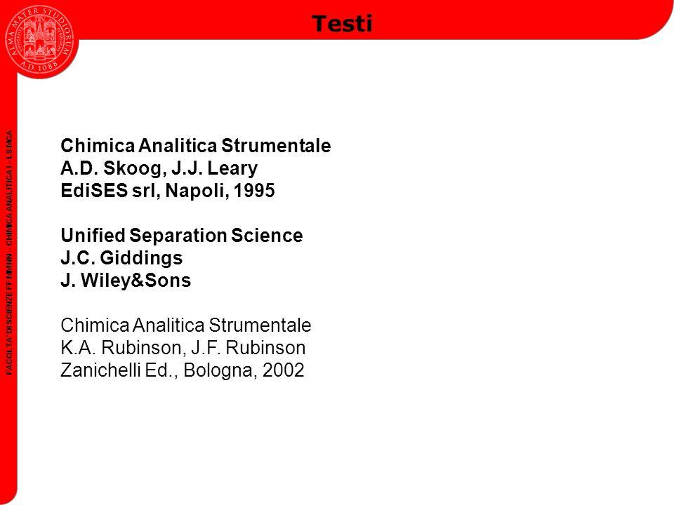 FACOLTA DI SCIENZE FF MM NN – CHIMICA ANALITICA I – LS MCA Testi Chimica Analitica Strumentale A.D.