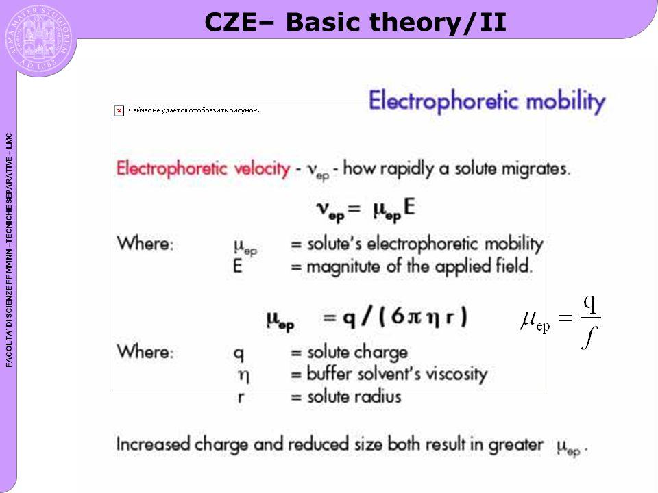 FACOLTA DI SCIENZE FF MM NN –TECNICHE SEPARATIVE – LMC CZE– Basic theory/II