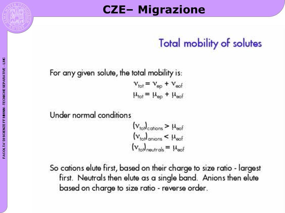 FACOLTA DI SCIENZE FF MM NN –TECNICHE SEPARATIVE – LMC CZE– Migrazione