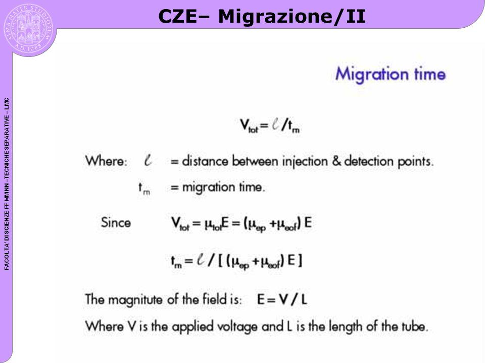 FACOLTA DI SCIENZE FF MM NN –TECNICHE SEPARATIVE – LMC CZE– Migrazione/II