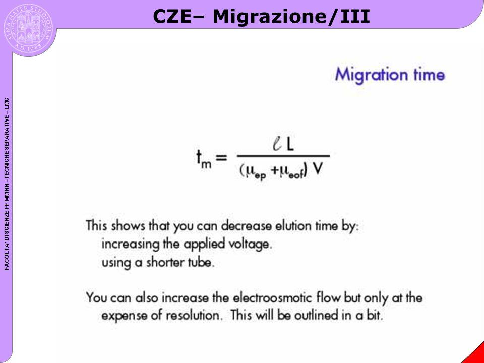 FACOLTA DI SCIENZE FF MM NN –TECNICHE SEPARATIVE – LMC CZE– Migrazione/III
