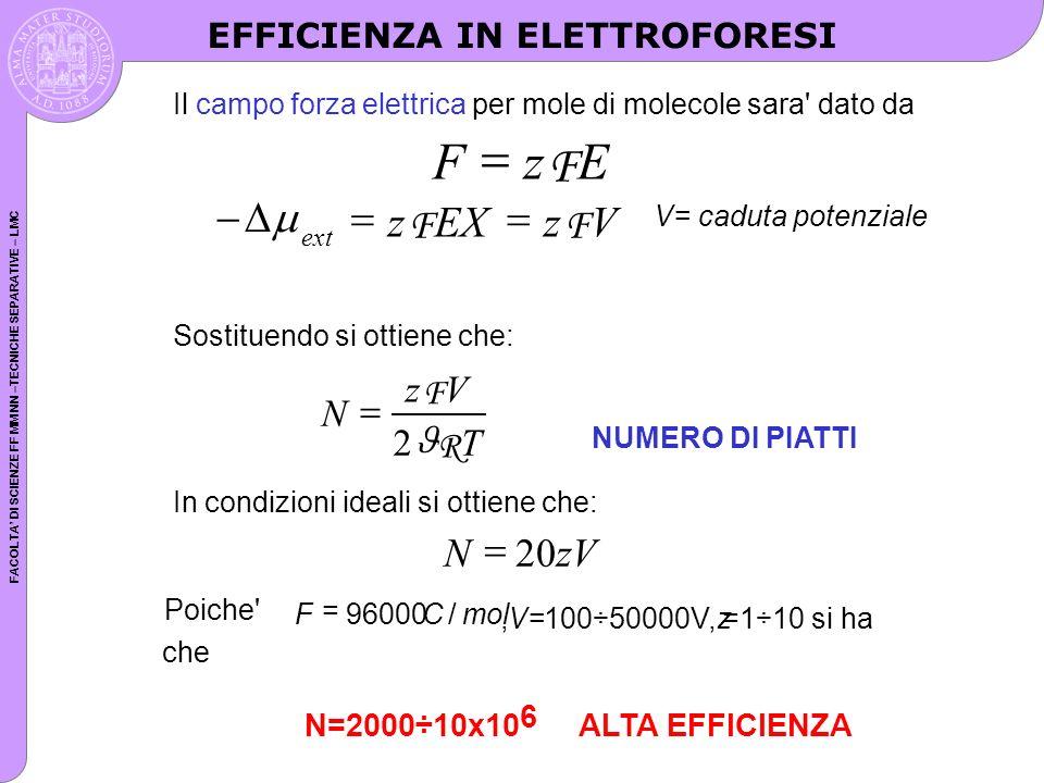 FACOLTA DI SCIENZE FF MM NN –TECNICHE SEPARATIVE – LMC Il campo forza elettrica per mole di molecole sara' dato da FzE F ext zEXzV FF V= caduta potenz
