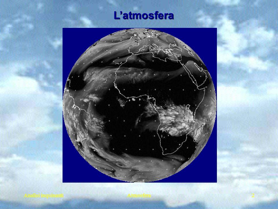 Analisi inquinantiAtmosfera3 Fase gassosa Particelle solide Particelle liquide Combinazione di solido e liquido Latmosfera Latmosfera Laria è una sospensione colloidale (Schmauss e Wigand, 1929) A.