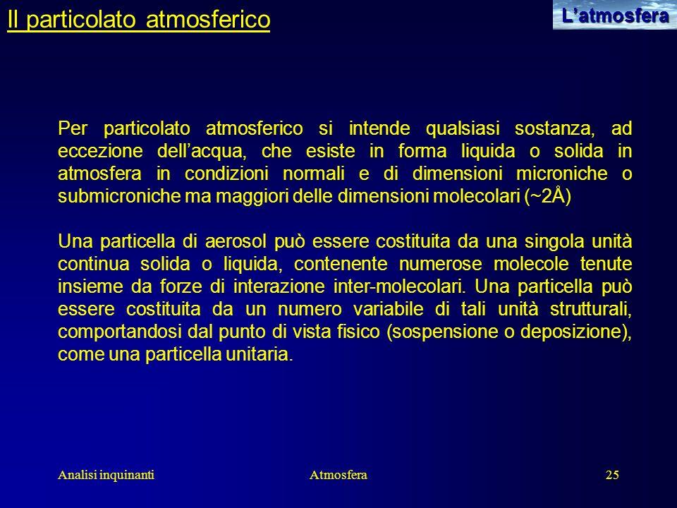 Analisi inquinantiAtmosfera25 Il particolato atmosfericoLatmosfera Per particolato atmosferico si intende qualsiasi sostanza, ad eccezione dellacqua,