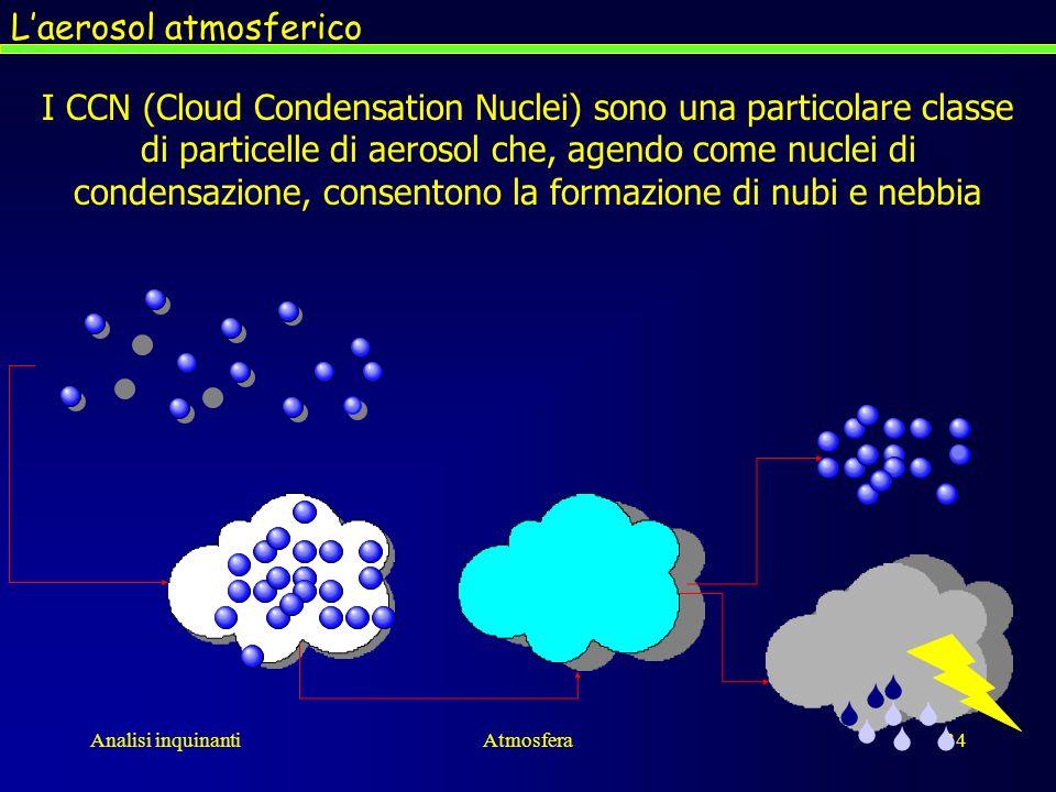 Analisi inquinantiAtmosfera34 Laerosol atmosferico I CCN (Cloud Condensation Nuclei) sono una particolare classe di particelle di aerosol che, agendo