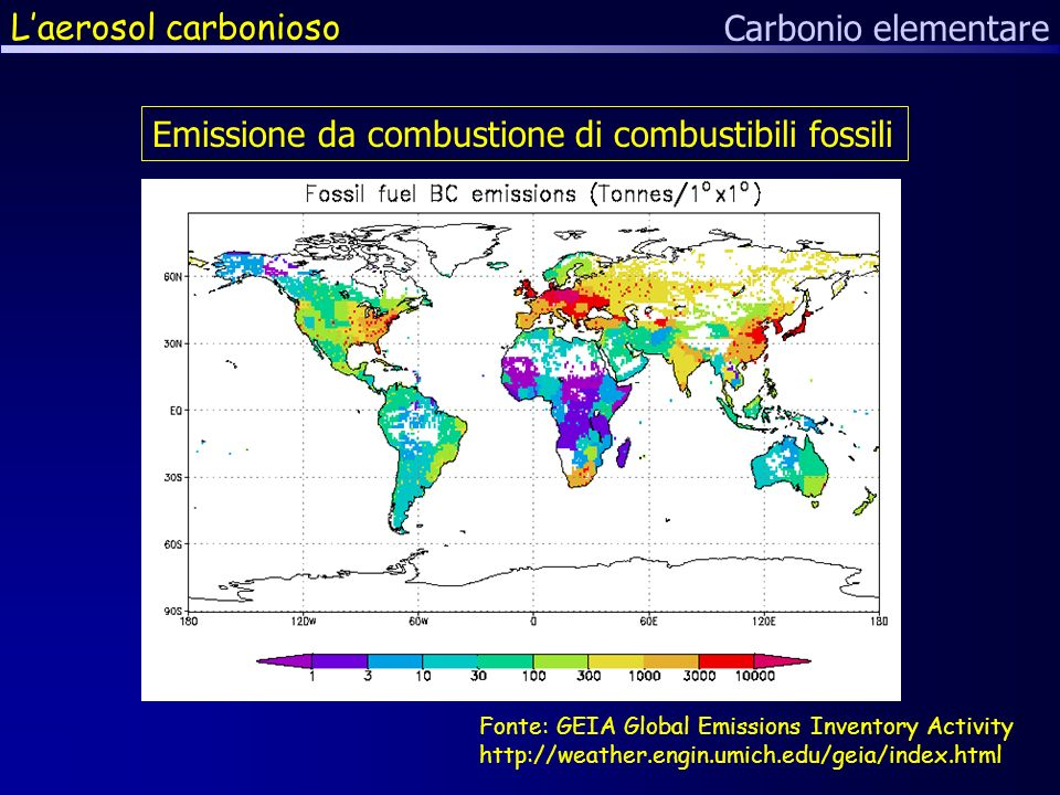 Laerosol carbonioso Carbonio elementare Fonte: GEIA Global Emissions Inventory Activity http://weather.engin.umich.edu/geia/index.html Emissione da combustione di combustibili fossili
