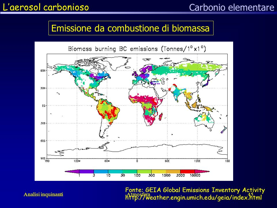 Analisi inquinantiAtmosfera45 Laerosol carbonioso Carbonio elementare Emissione da combustione di biomassa Fonte: GEIA Global Emissions Inventory Activity http://weather.engin.umich.edu/geia/index.html