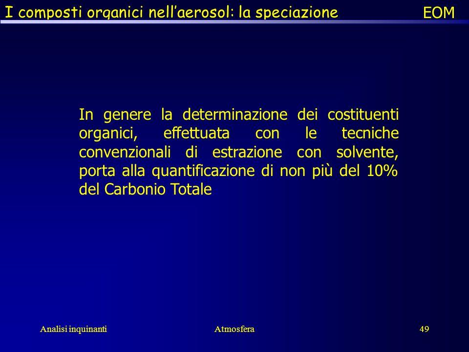 Analisi inquinantiAtmosfera49 I composti organici nellaerosol: la speciazione In genere la determinazione dei costituenti organici, effettuata con le