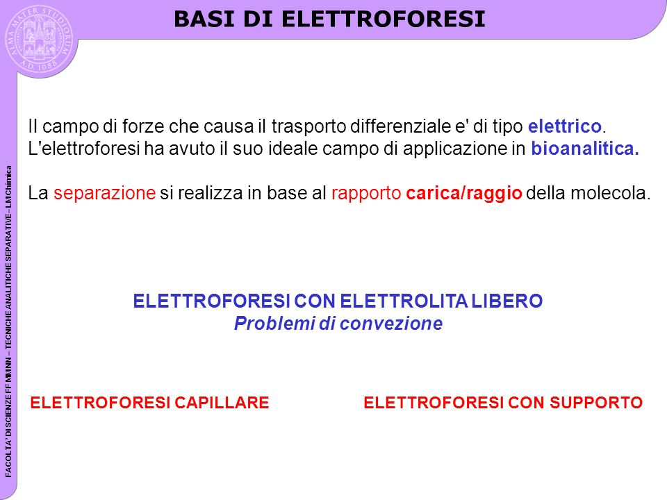 FACOLTA DI SCIENZE FF MM NN – TECNICHE ANALITICHE SEPARATIVE– LM Chimica Electrophoretic mobility Voltage difference, E = voltage applied/distance between electrodes; generally expressed as volts/cm Charge on molecule, q Frictional component, f, determined by size and shape of molecule, pore size of matrix, viscosity of buffer Velocity of particle, v= Eq/f Mobility of particle, µ = v/E = q/f Size/shape Charge Both size/shape and charge Separation can be effected by