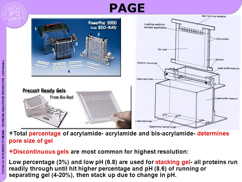 FACOLTA DI SCIENZE FF MM NN – TECNICHE ANALITICHE SEPARATIVE– LM Chimica PAGE WTotal percentage of acrylamide- acrylamide and bis-acrylamide- determin