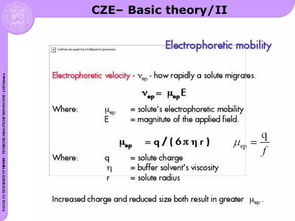 FACOLTA DI SCIENZE FF MM NN – TECNICHE ANALITICHE SEPARATIVE– LM Chimica CZE– Basic theory/II