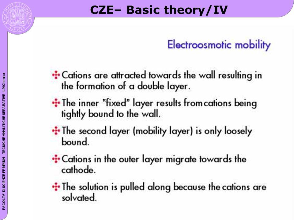 FACOLTA DI SCIENZE FF MM NN – TECNICHE ANALITICHE SEPARATIVE– LM Chimica CZE– Basic theory/IV