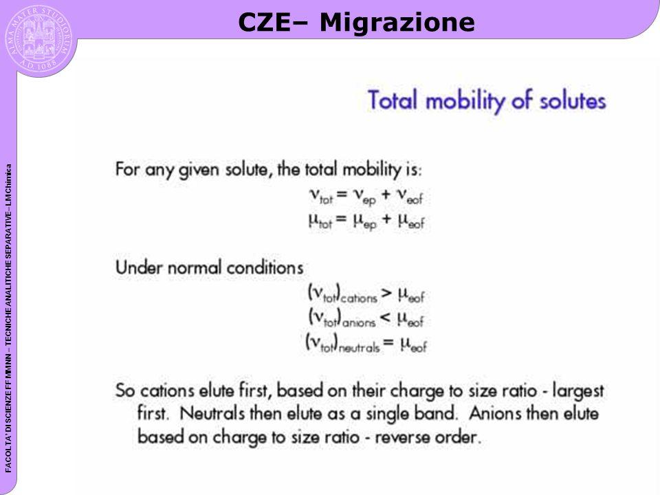 FACOLTA DI SCIENZE FF MM NN – TECNICHE ANALITICHE SEPARATIVE– LM Chimica CZE– Migrazione