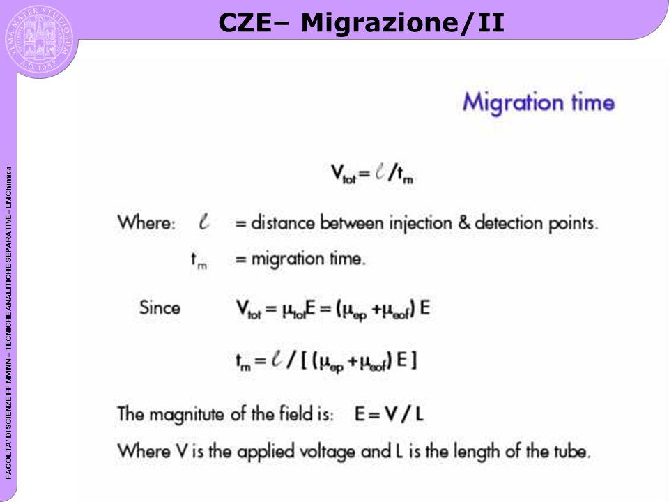 FACOLTA DI SCIENZE FF MM NN – TECNICHE ANALITICHE SEPARATIVE– LM Chimica CZE– Migrazione/II