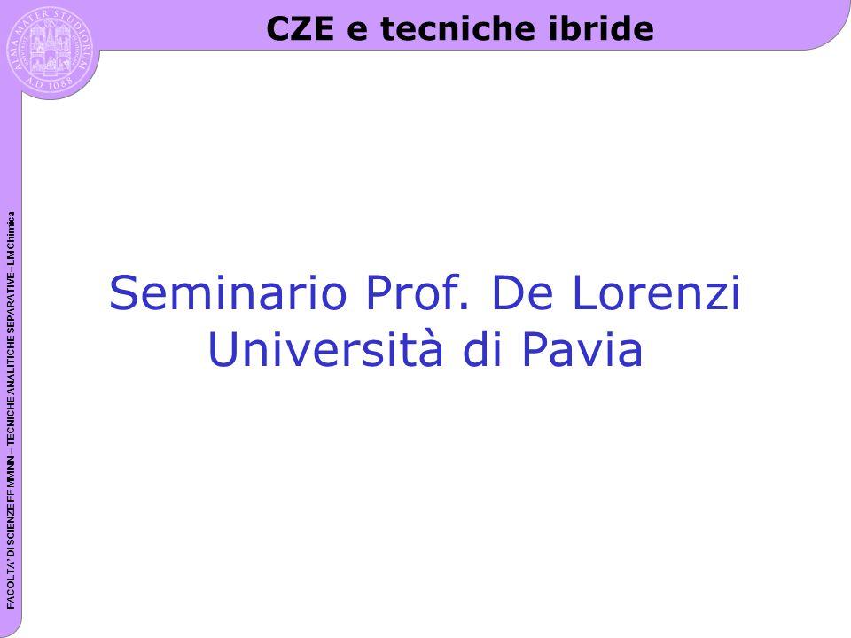FACOLTA DI SCIENZE FF MM NN – TECNICHE ANALITICHE SEPARATIVE– LM Chimica Seminario Prof. De Lorenzi Università di Pavia CZE e tecniche ibride