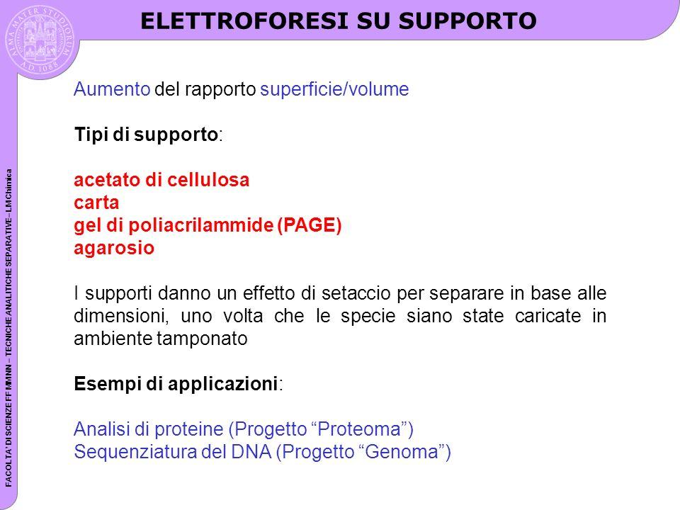 FACOLTA DI SCIENZE FF MM NN – TECNICHE ANALITICHE SEPARATIVE– LM Chimica Aumento del rapporto superficie/volume Tipi di supporto: acetato di cellulosa carta gel di poliacrilammide (PAGE) agarosio I supporti danno un effetto di setaccio per separare in base alle dimensioni, uno volta che le specie siano state caricate in ambiente tamponato Esempi di applicazioni: Analisi di proteine (Progetto Proteoma) Sequenziatura del DNA (Progetto Genoma) ELETTROFORESI SU SUPPORTO