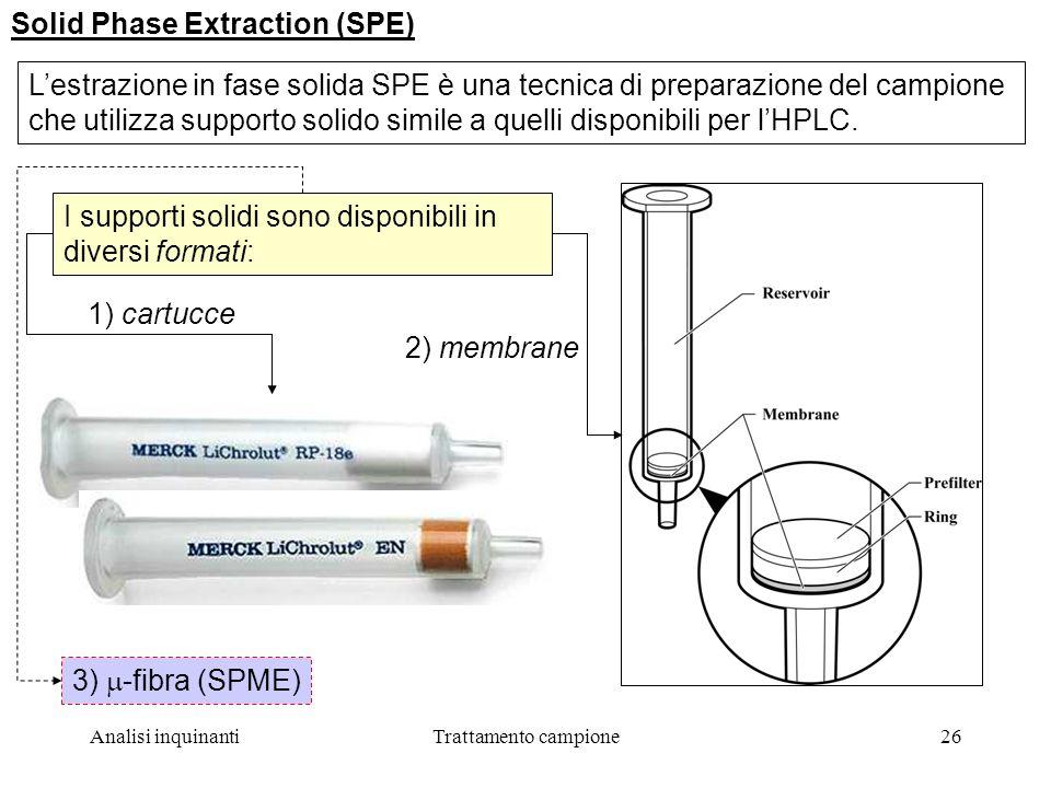 Analisi inquinantiTrattamento campione26 Solid Phase Extraction (SPE) Lestrazione in fase solida SPE è una tecnica di preparazione del campione che utilizza supporto solido simile a quelli disponibili per lHPLC.