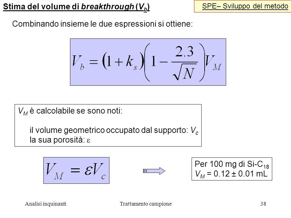 Analisi inquinantiTrattamento campione38 Stima del volume di breakthrough (V b ) SPE– Sviluppo del metodo V M è calcolabile se sono noti: il volume geometrico occupato dal supporto: V c la sua porosità: Per 100 mg di Si-C 18 V M = 0.12 ± 0.01 mL Combinando insieme le due espressioni si ottiene: