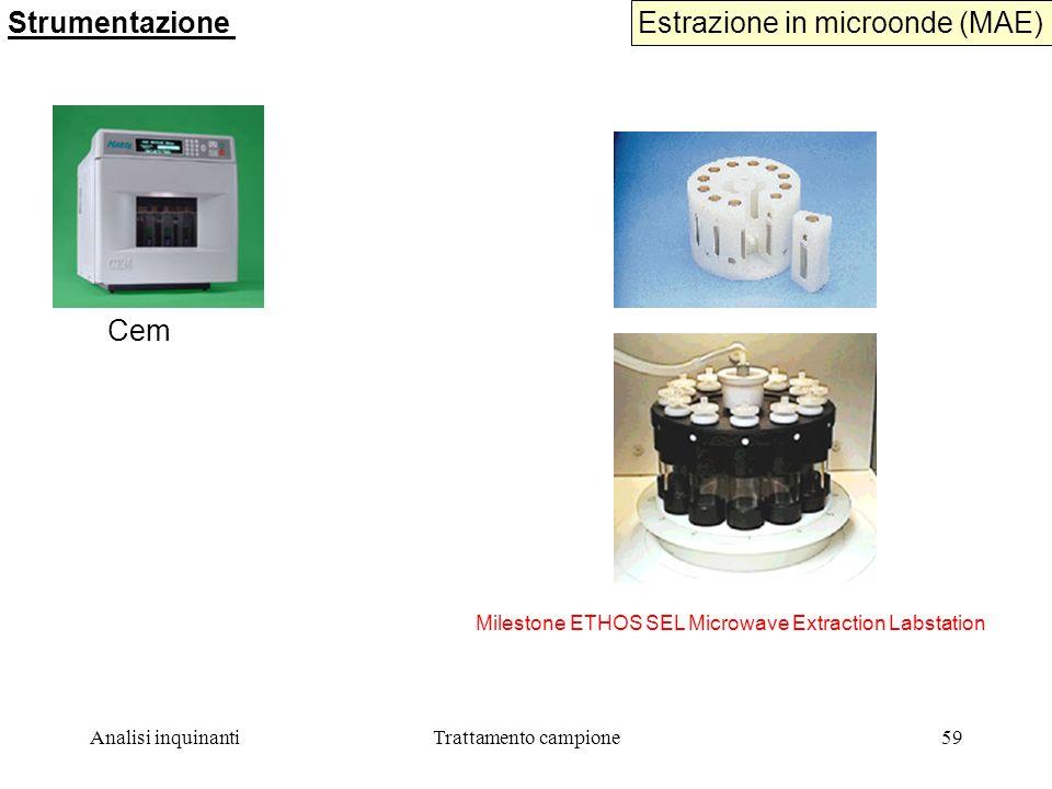 Analisi inquinantiTrattamento campione59 Estrazione in microonde (MAE) Strumentazione Milestone ETHOS SEL Microwave Extraction Labstation Cem