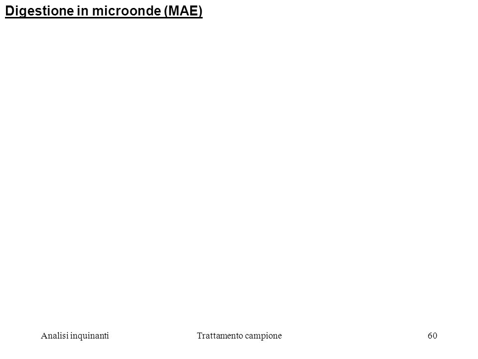 Analisi inquinantiTrattamento campione60 Digestione in microonde (MAE)