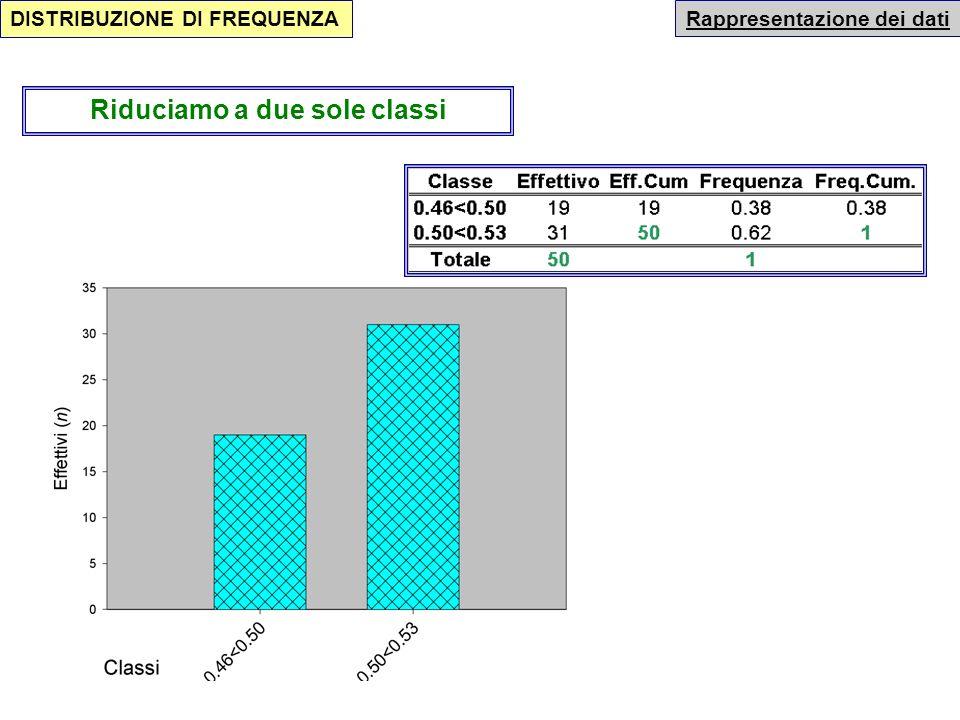 Questa suddivisione porta alla seguente rappresentazione grafica Rappresentazione dei dati DISTRIBUZIONE DI FREQUENZA