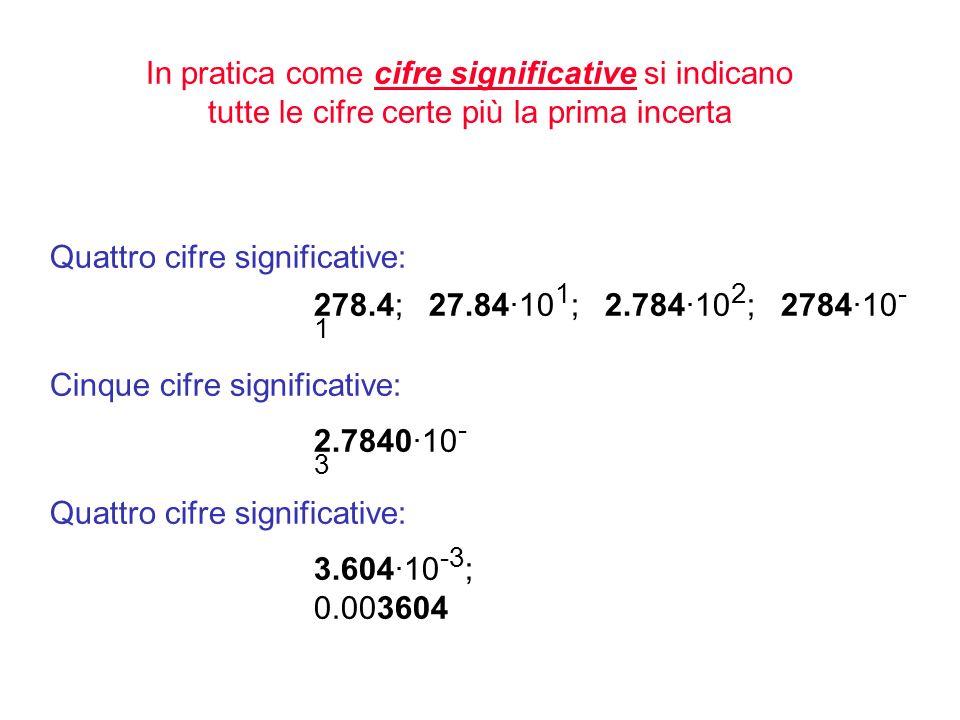 Il numero di cifre significative è il numero minore di cifre necessarie per esprimere una quantità con la precisione richiesta Il numero di cifre sign