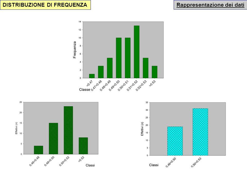 Rappresentazione dei dati DISTRIBUZIONE DI FREQUENZA Riduciamo a due sole classi