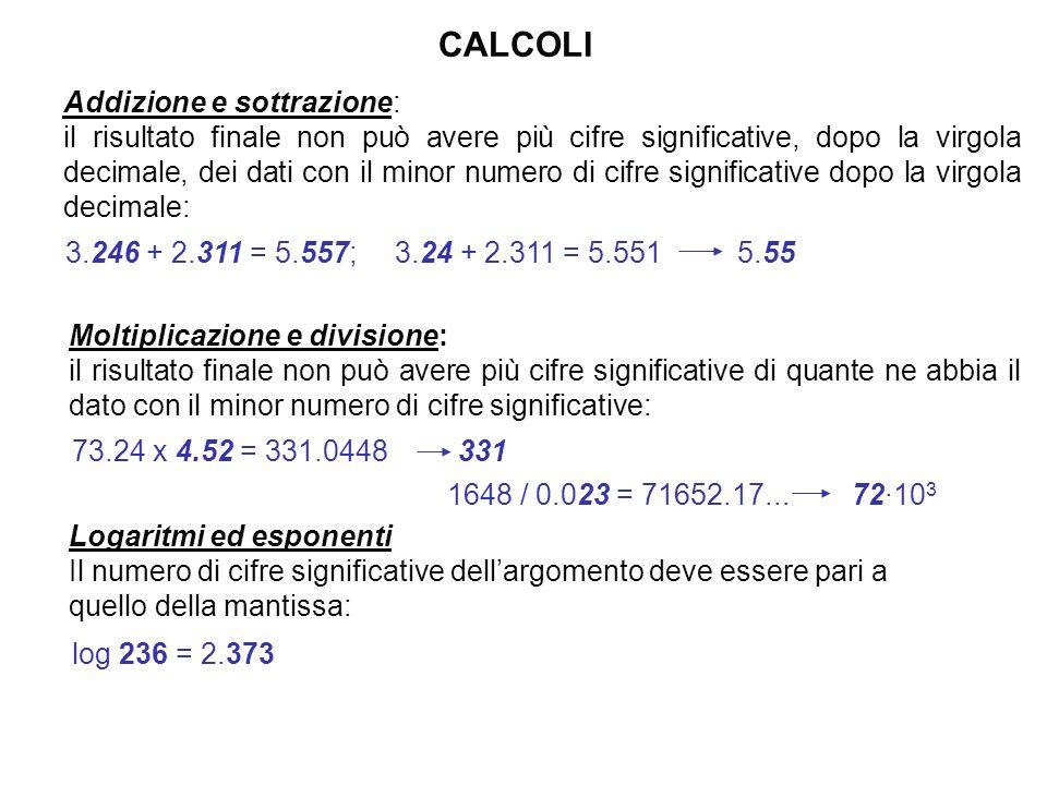 In pratica come cifre significative si indicano tutte le cifre certe più la prima incerta 278.4; 27.84·10 1 ; 2.784·10 2 ; 2784·10 - 1 Quattro cifre s