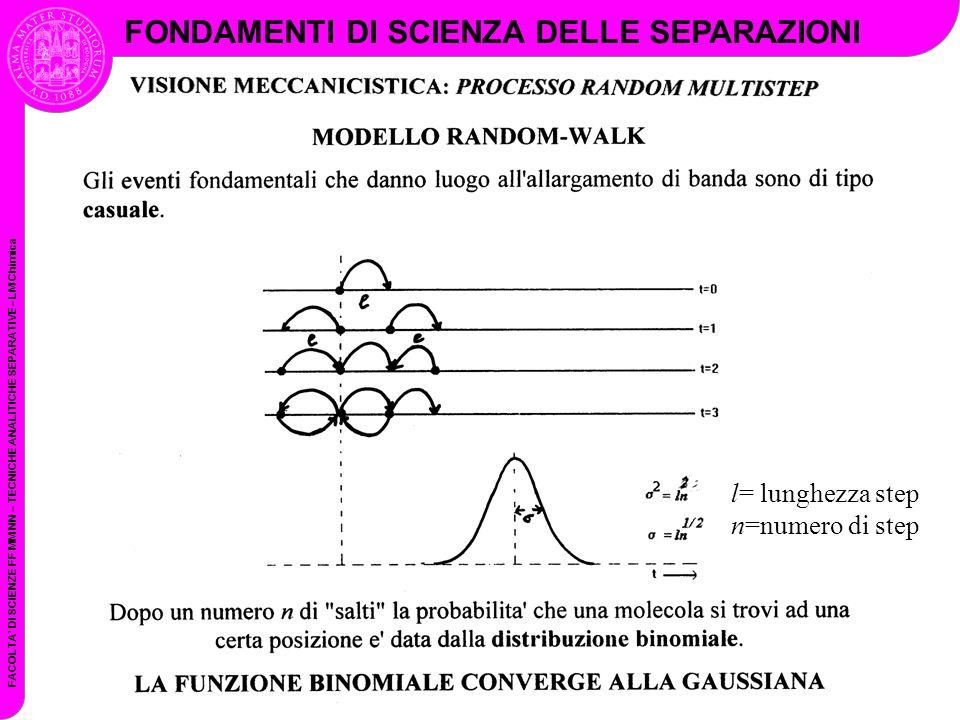 FACOLTA DI SCIENZE FF MM NN – TECNICHE ANALITICHE SEPARATIVE– LM Chimica FONDAMENTI DI SCIENZA DELLE SEPARAZIONI l= lunghezza step n=numero di step
