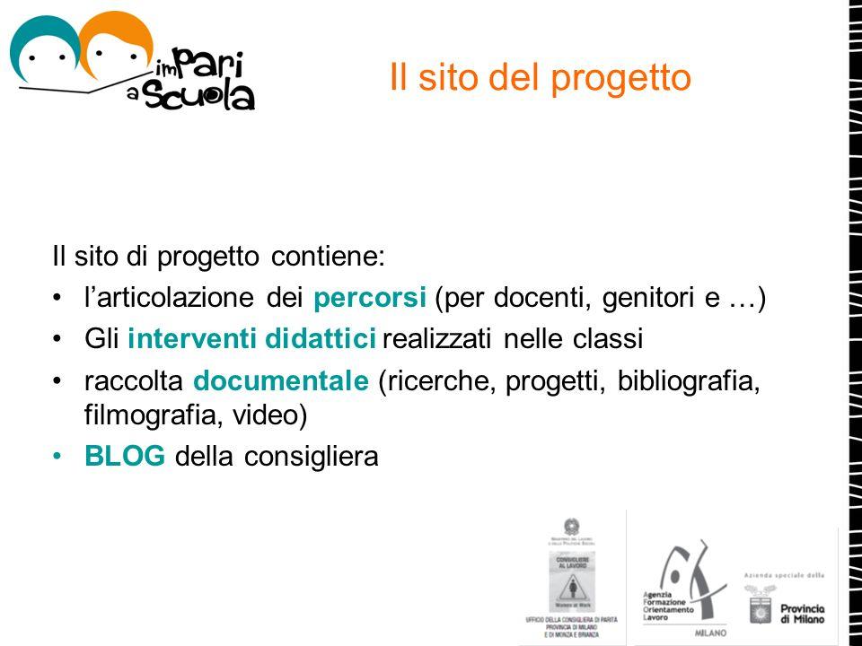 Il sito del progetto Il sito di progetto contiene: larticolazione dei percorsi (per docenti, genitori e …) Gli interventi didattici realizzati nelle c