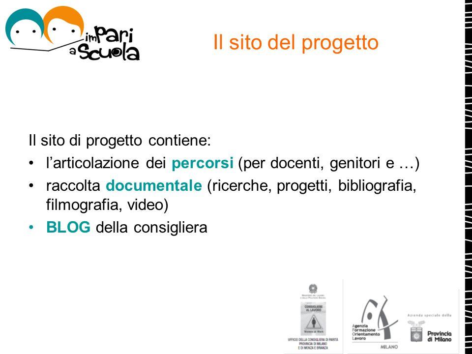 Il sito del progetto Il sito di progetto contiene: larticolazione dei percorsi (per docenti, genitori e …) raccolta documentale (ricerche, progetti, b