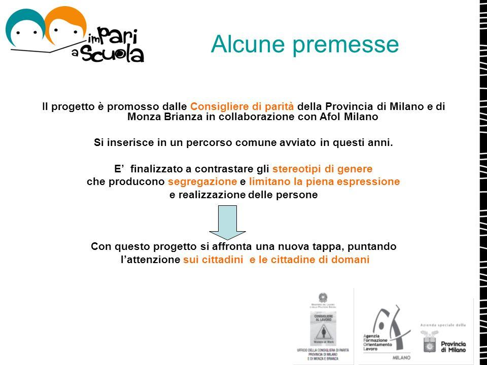 Alcune premesse Il progetto è promosso dalle Consigliere di parità della Provincia di Milano e di Monza Brianza in collaborazione con Afol Milano Si i