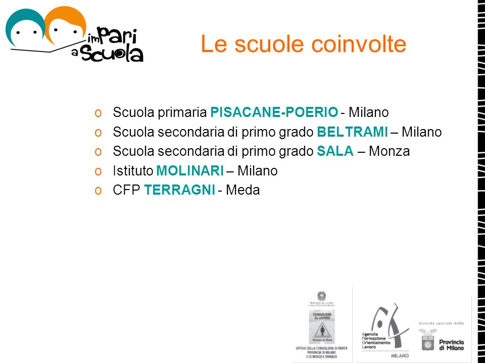 Le scuole coinvolte oScuola primaria PISACANE-POERIO - Milano oScuola secondaria di primo grado BELTRAMI – Milano oScuola secondaria di primo grado SA