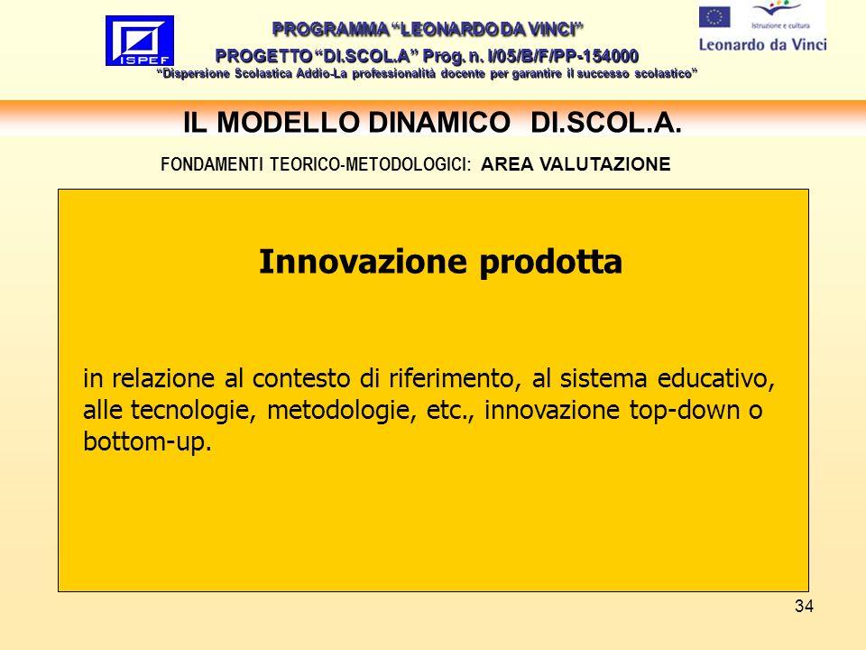 34 IL MODELLO DINAMICO DI.SCOL.A.PROGRAMMA LEONARDO DA VINCI PROGETTO DI.SCOL.A Prog.