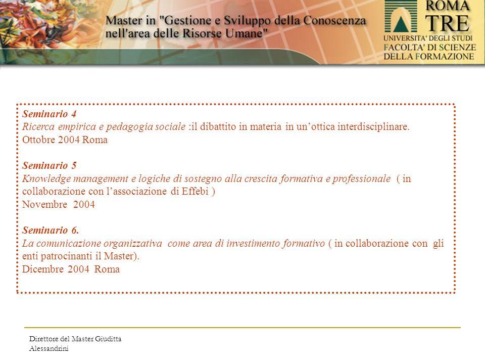 Direttore del Master Giuditta Alessandrini Seminario 4 Ricerca empirica e pedagogia sociale :il dibattito in materia in unottica interdisciplinare.