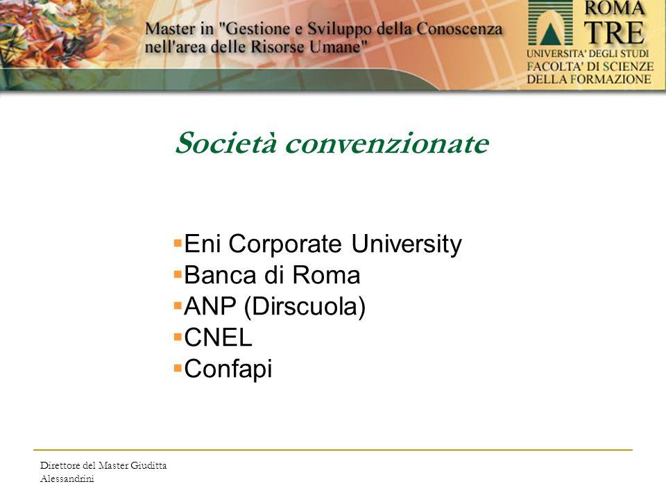 Società convenzionate Eni Corporate University Banca di Roma ANP (Dirscuola) CNEL Confapi