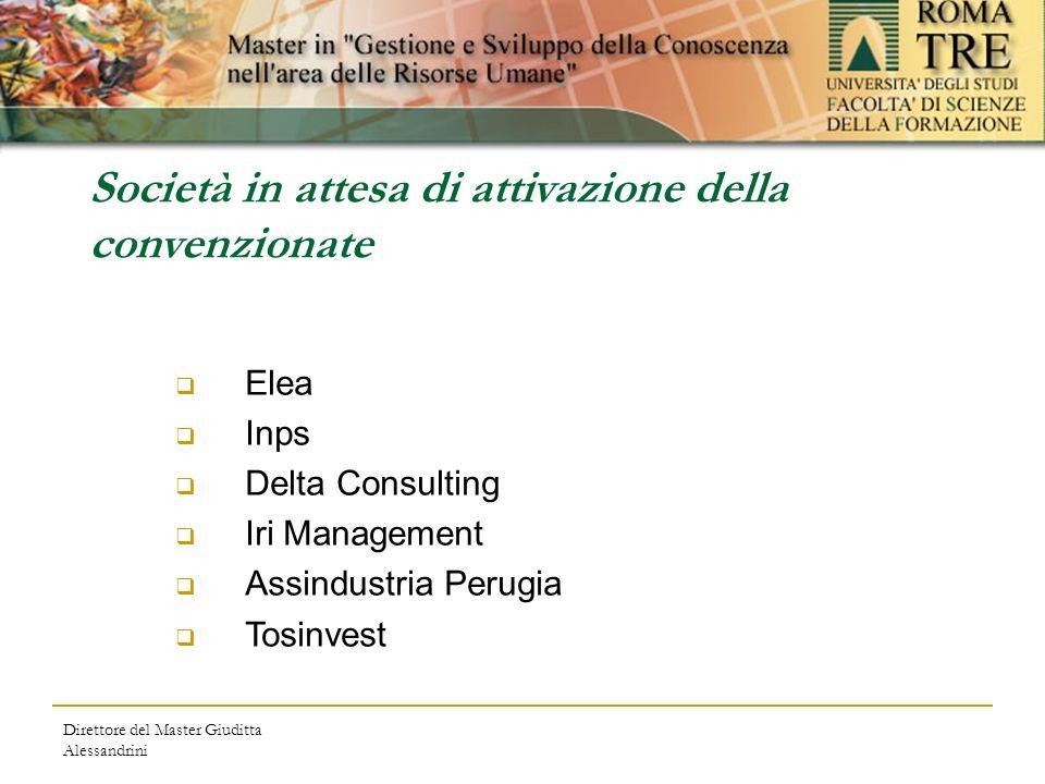 Direttore del Master Giuditta Alessandrini Società in attesa di attivazione della convenzionate Elea Inps Delta Consulting Iri Management Assindustria Perugia Tosinvest
