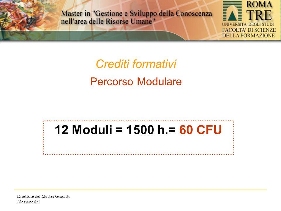 Direttore del Master Giuditta Alessandrini Crediti formativi Percorso Modulare 12 Moduli = 1500 h.= 60 CFU